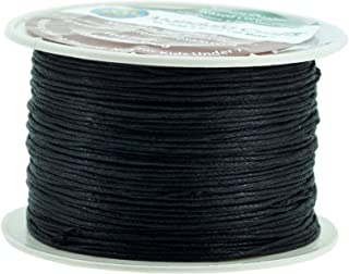 Mandala Crafts 1mm 109 Yards Jewelry Making Beading Crafting Macramé Waxed Cotton Cord Thread (Black)