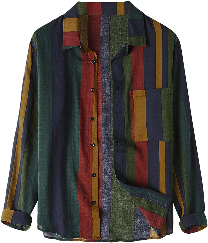 Mens Hawaiian Shirt Long Sleeve Button Up Beach Shirts Regular Fit Vintage Striped Print Blouse Tops Plus Size