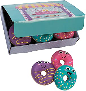 Fun Express Donut Party Plush Donuts with Box | 1 Donut Box & 12 Donuts | Great for Kiddie Dessert-Themed Parties, Celebrations, and Room Stuffed Toys