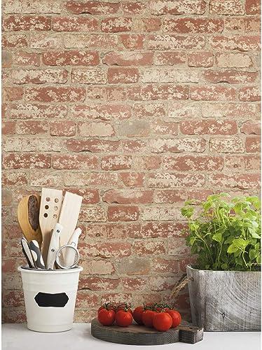 RoomMates RMK9035WP - Papel pintado para pared, diseño de ladrillos