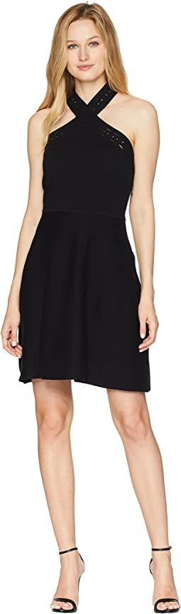 Vince Camuto Cross Over Front Halter Sweater Dress
