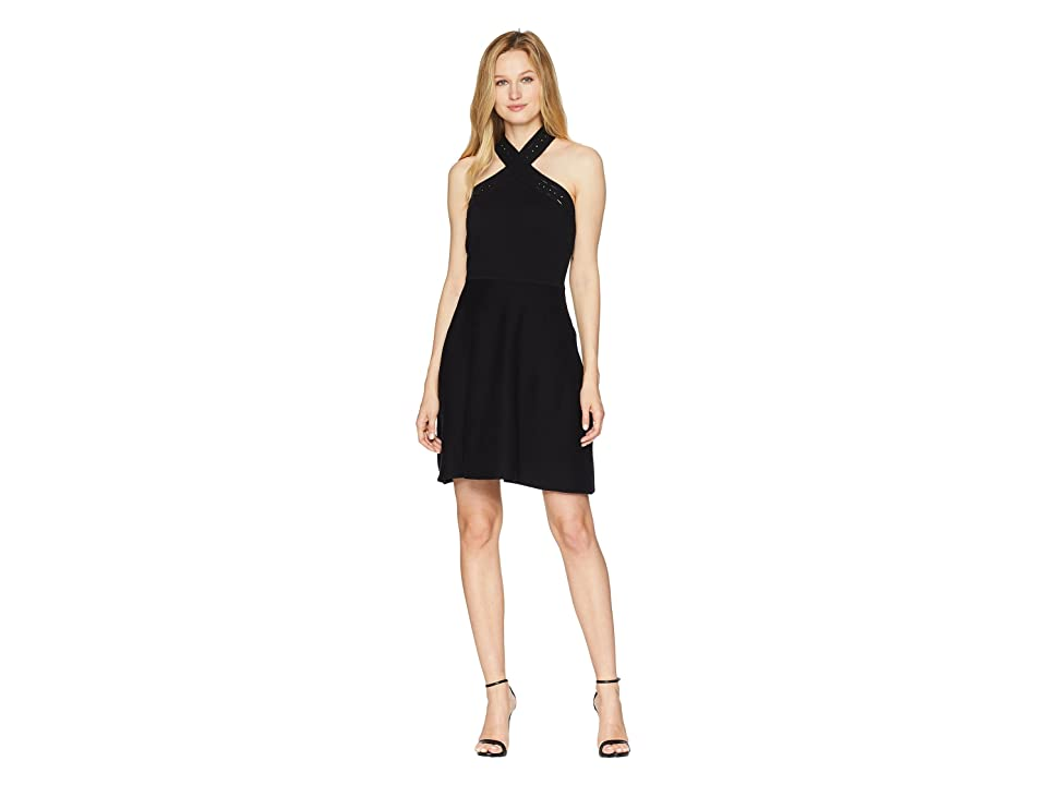 Vince Camuto Cross Over Front Halter Sweater Dress (Rich Black) Women