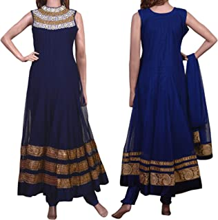 MEVE Readymade 3 Piece Anarkali Party Kurta Set with Dupatta and Salwar Navy Blue