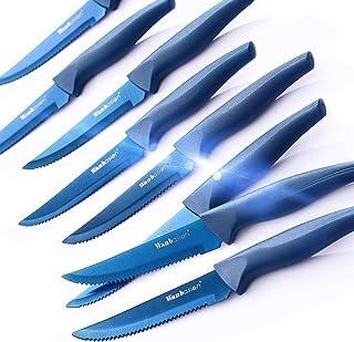 Wanbasion 8 Piezas Azul Cuchillos De Carne Acero Inoxidable Cortar, Set De Cuchillos De Mesa Sierra, Juego De Cuchillos Para Filetear Carne Arcos Cocina Filo