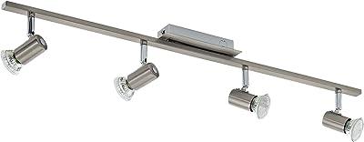 Eglo 90917 Plafonnier 4 Spots Rottelo en Acier Muni de 4 Led Gu10 3 W 720 Lm Nickel Mat/Chromé 78 X 7cm