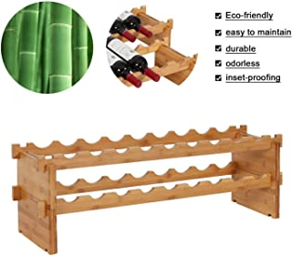 Kinbor Bamboo Red Wine Rack 18 Bottle,Wood Wine Rack Accessories Wooden Free Standing Countertop Stackable Wine Storage Shelf (18-Bottle)