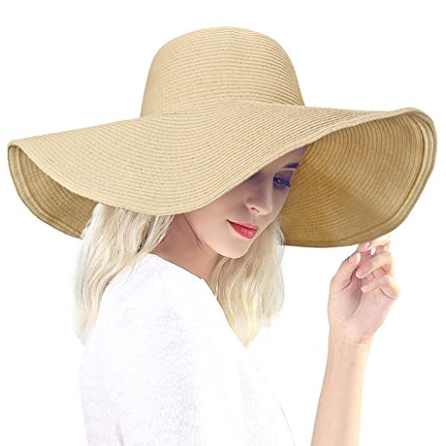Dafunna Black Straw Hat Floppy Beach Hat Striped Sun Hat Foldable and  Packable 6f6884248001