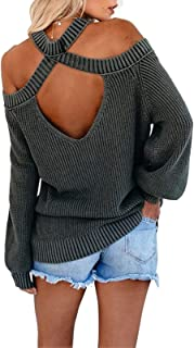 Byinns Women's Off-Shoulder Halterneck Pullover Sweaters Sexy Loose Solid Color Long Sleeve Backless Knitted Tops