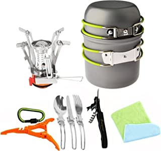 Bisgear 12pcs Camping Cookware Stove Canister Stand Tripod Folding Spork Wine Opener Carabiner Set Outdoor Camping Hiking ...
