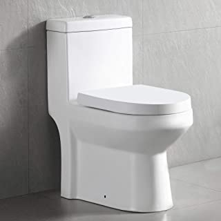 DeerValley DV-1F52813 Small Compact Dual Flush One Piece Toilet, Space Saver Commode designed for Water Closet, Soft Closi...
