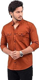 Nimegh Double Pocket Flap Cotton Casual Shirt with Mandarin Collar for Men's