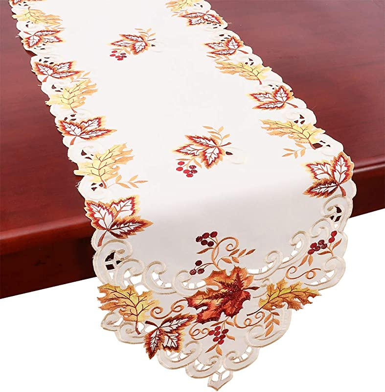 Grelucgo Elegant Thanksgiving Holiday Table Runner Embroidered Maple Leaves Fall Table Linen 15 By 90 Inch