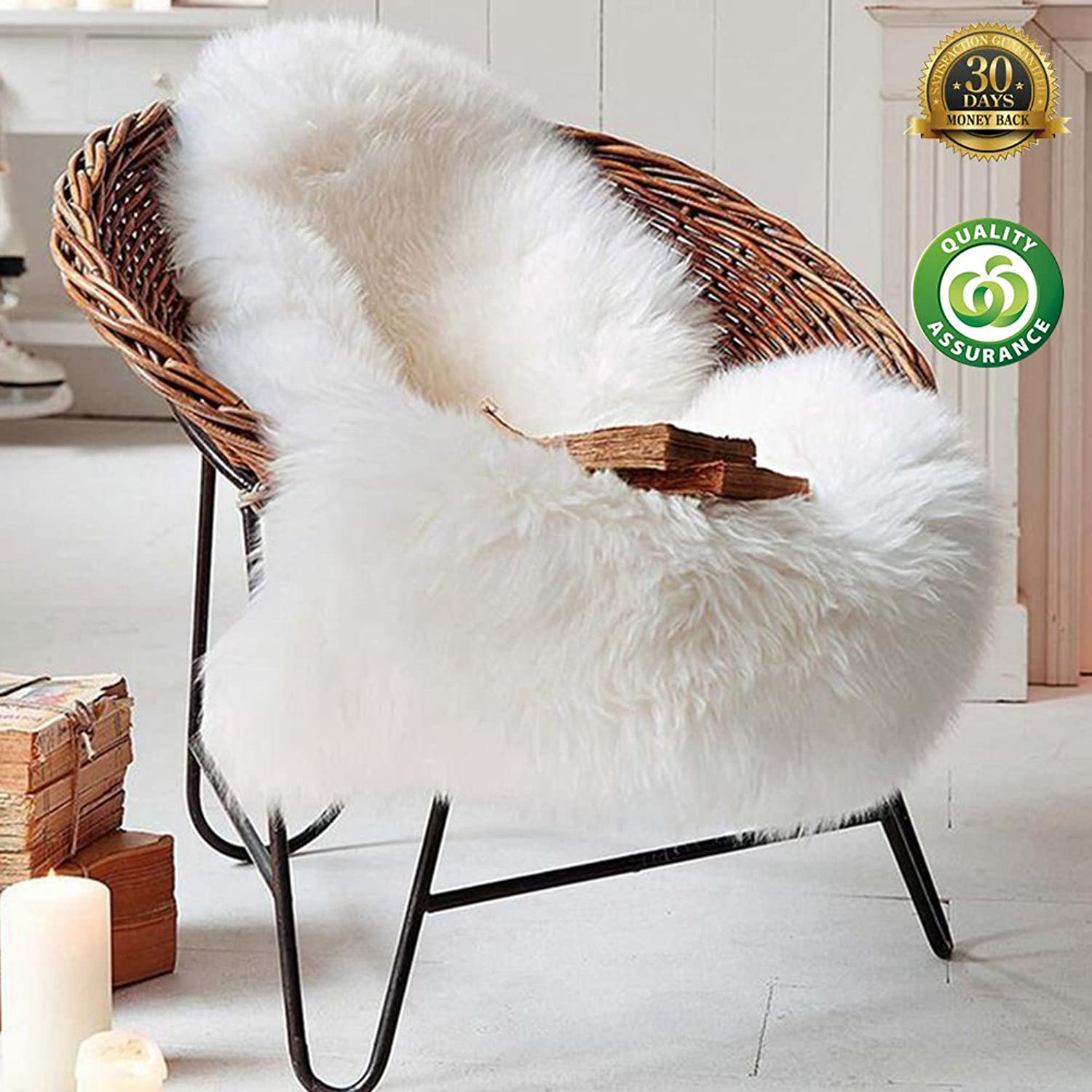 HIGOGOGO Ultra Soft Sheepskin Silky Rug 2'6  by 3'6  White Fluffy Area Rug Suitable for Sofa Couch Living Room Bedroom