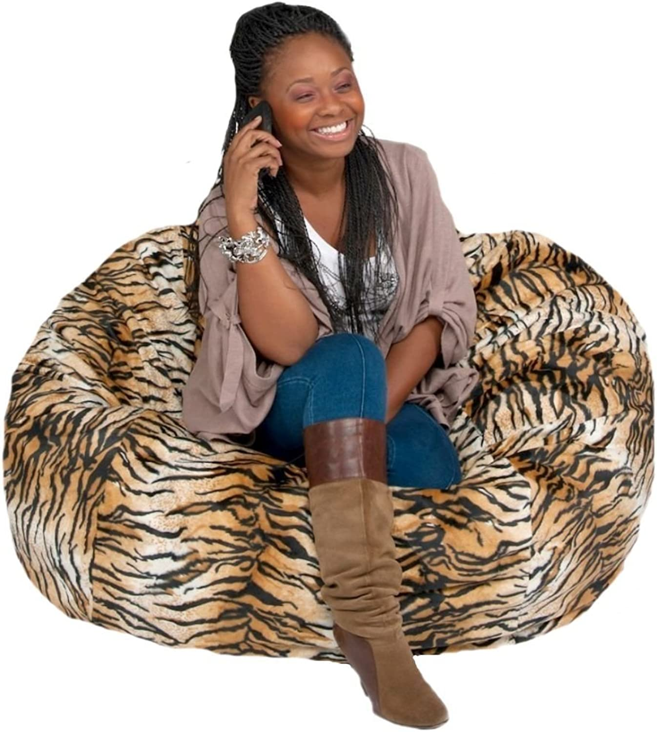 Cozy Sack Bean Bag Chair  Large 4 Foot Foam Filled Bean Bag – Large Bean Bag Chair, Predective Liner, Plush Micro Fiber Removable Cover - Tiger