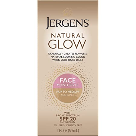 Jergens Natural Glow Self Tanner Face Moisturizer, SPF 20 Facial Sunscreen, Fair to Medium Skin Tone, Sunless Tanning, Oil Free, Broad Spectrum Protection UVA and UVB, 2 oz (Packaging May Vary)
