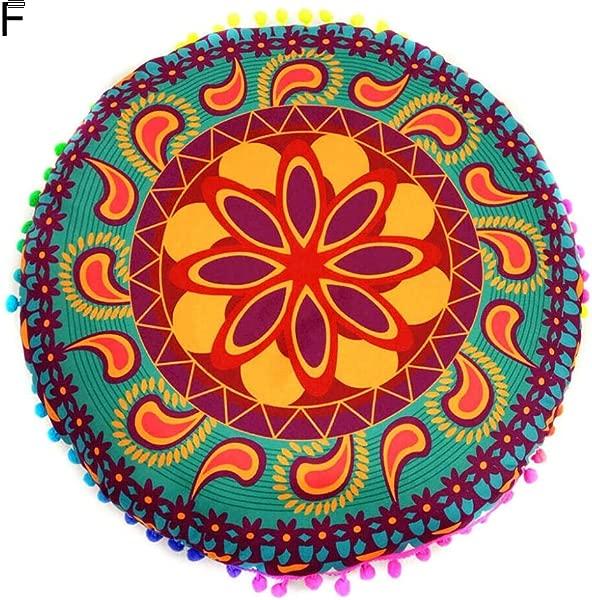 HotMall 美国抱枕套波西米亚圆形抱枕靠垫套由聚酯纤维制成,用于家居沙发装饰,直径 17 英寸