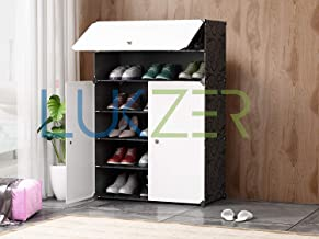 Lukzer Multipurpose Portable Folding 6 Layer Shoe Rack Cabinet Storage Organizer for Home Kitchen Bedroom Hallway Entryway Balcony