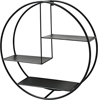 WHW Whole House Worlds Industrial Contemporary Round, Circle Shelf, Floating, Iron 3 Ledges, Wall Unit, Black, 21 1/2 Inches Diameter
