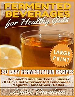 Fermented Beverages for Healthy Guts ***Large Print Edition***: 50 Easy Fermentation Recipes - Kombucha and Jun Teas, Juices, Kefir, Lacto-Fermented Lemonades, Yogurts, Smothies, Sodas