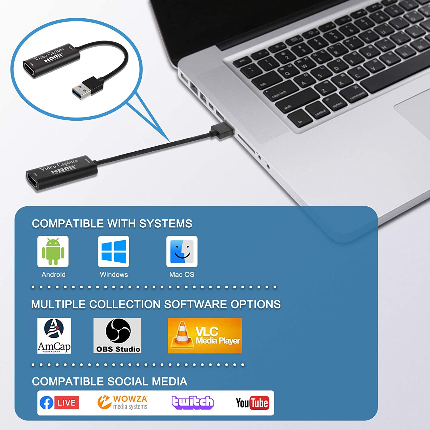Live Streaming 1080P HDMI to USB 2.0 Audio Video Capture Adapter Record to DSLR Camcorder Action Cam,Computer for Gaming IPXOZO Audio Video Capture Card Teaching Gaming Recorder Card