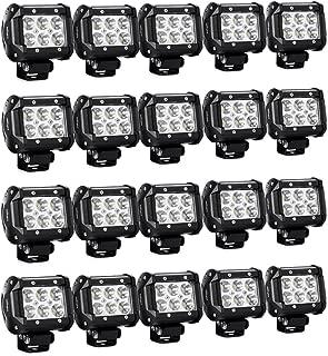 "Nilight 20PCS 18W 4"" 1260lm Spot Driving Fog Lights Off Road Led Light Bars Mounting Bracket SUV Boat Jeep Lamps, 2 Years Warranty"