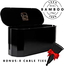 Large Black Bamboo Cable and Cord Management Organizer Box: X-Large Wire Cover and Cablebox for Power Strip and Surge Protector. Hide White and Black Cords to Baby Proof Your Small Electrical Storage