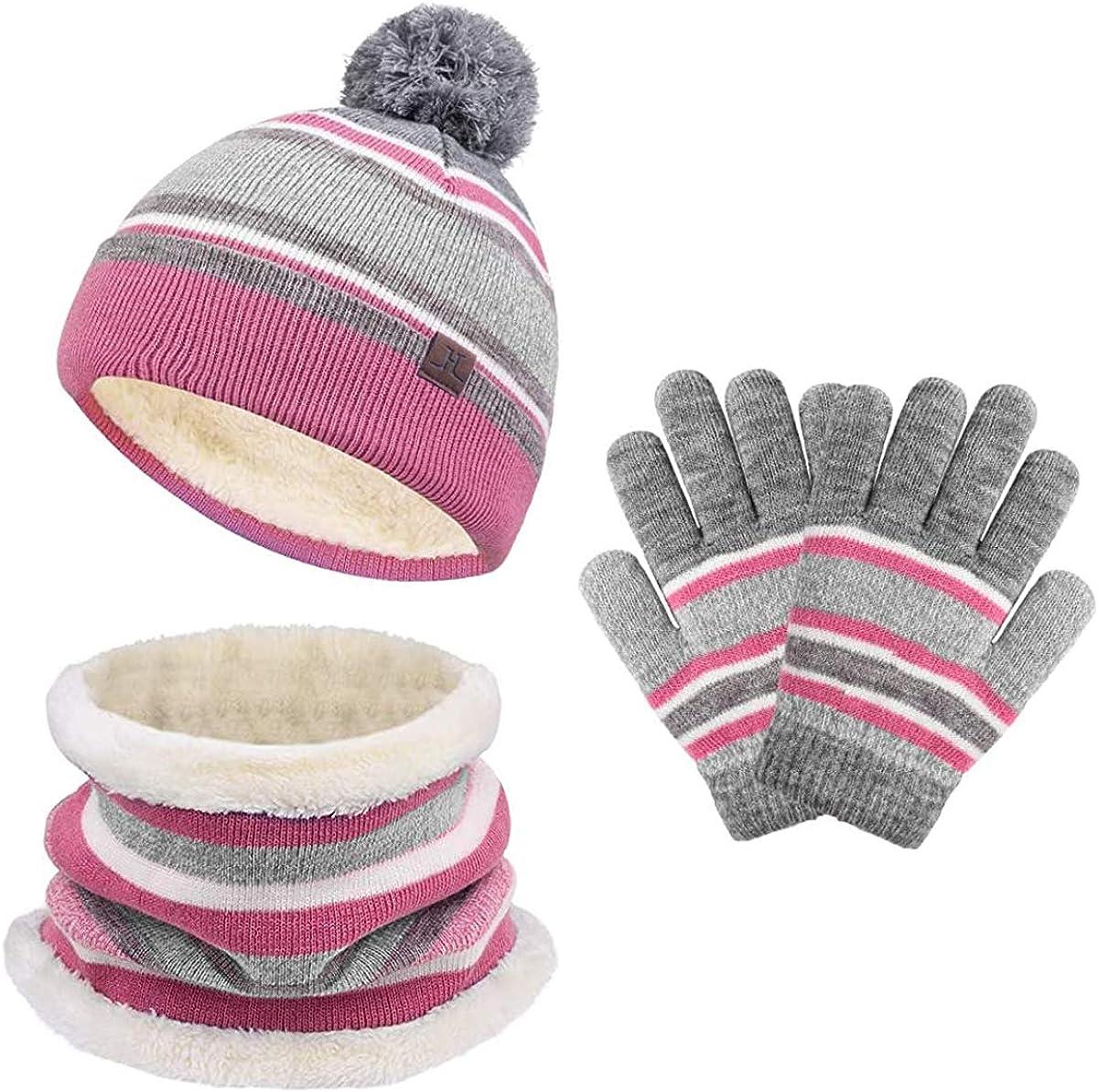 Kids Hat Scarf Gloves Set Toddler Winter Knit Beanies Neck Warmer Gaiter 3 set