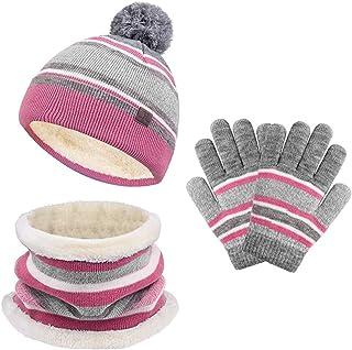 Kids Hat Scarf Gloves Set Toddler Winter Knit Beanies...