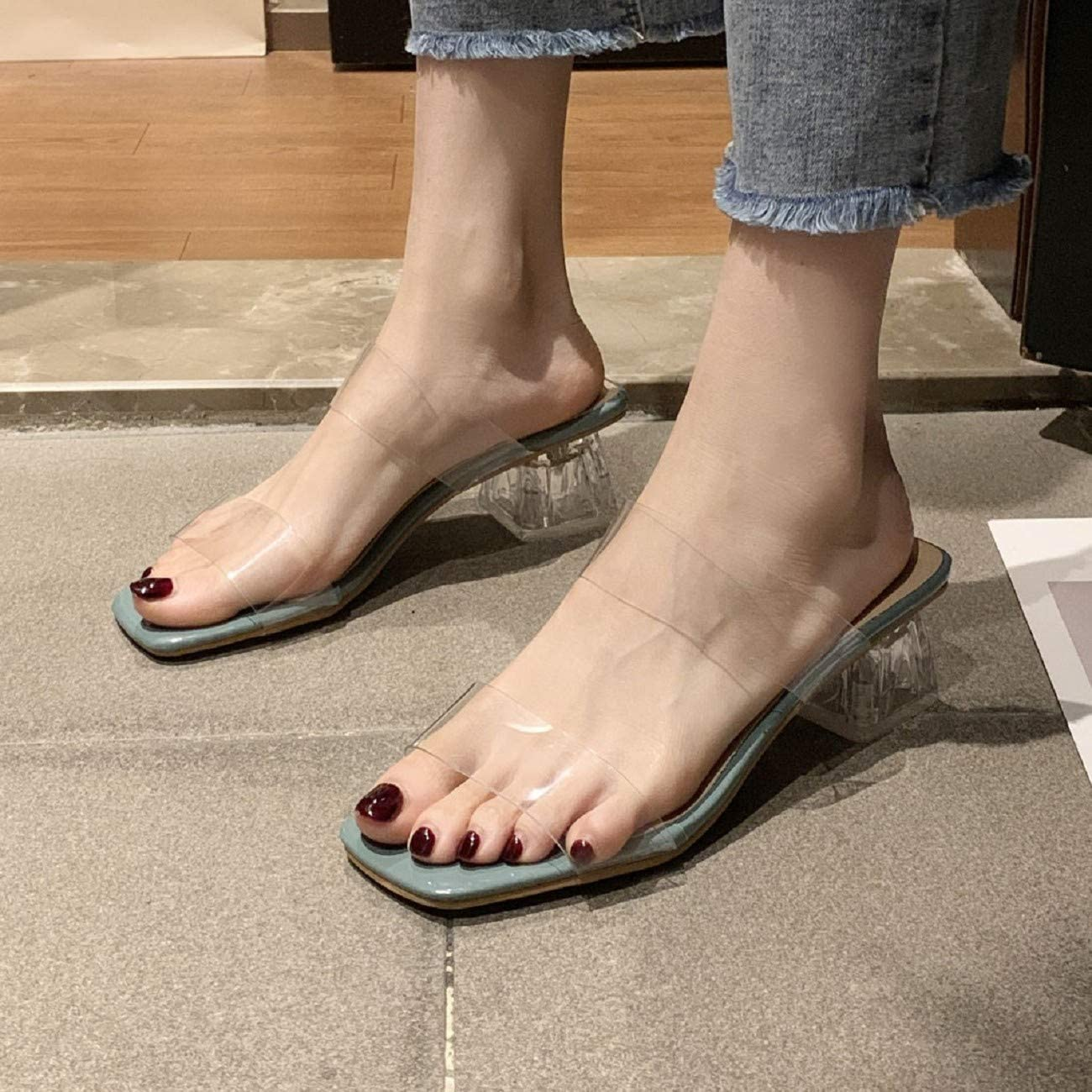 Tsmile Womens Transparent Block Heel Summer Fashion Simple Style High Heel Solid Color Casual Slippers Flip Flop