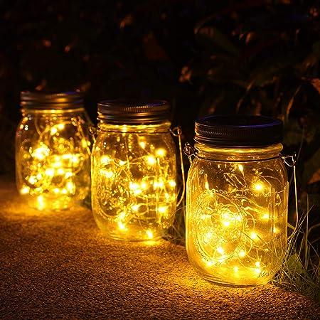 lámparas Solares Exterior,Juego de 3 Luz Solar Jardín, 30 LED Impermeable Solar Masón Luz Hada Jardín Luz Solar para Decoración Jardín Fiesta Balcón Navidad vacaciones bodas (Color cálido)