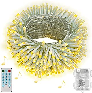 Hezbjiti Luces de cuerda de batería Hezbjiti 100 luces de cadena de hadas activadas por sonido de LED con remoto luces a...