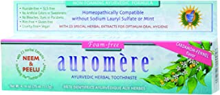 Ayurvedic Herbal Toothpaste Foam-free Cardamom-Fennel by Auromere - Fluoride-Free, Natural, with Neem, Vegan and Sulfate-Free - 4.16 oz