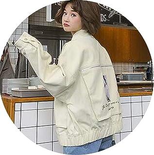 Lady night denim jacket Chamarra para Mujer con Estampado Coreano Suelto BF Estudiante de Bolsillo Grande Completo Mujer Casual Outwear Hot Z7