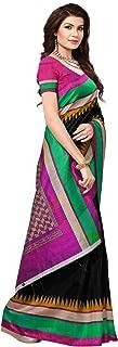 ETHNICMODE USA Pakistani Art Silk Kalamkari and Bhagalpuri Style Saree with Blouse Piece BELA Black