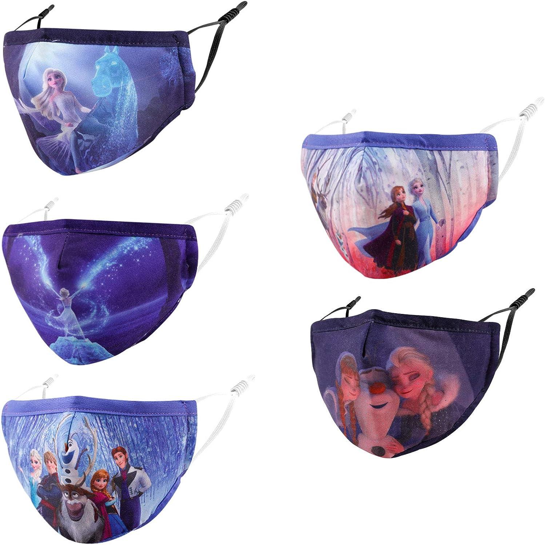 Reusable Cloth Face Cover with Nose Wire, 3D Blue Cute Designer Fro.Zen Breathable Washable Adjustable Cotton mascaras para niños