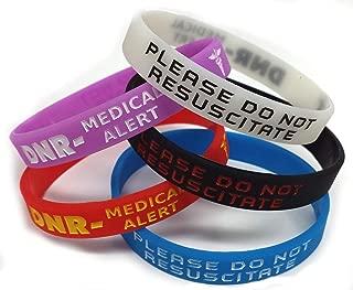 5x DNR Please Do Not Resuscitate Wristband MEDICAL AWARENESS ALERT BRACELET White, Red, Black, Purple, Blue