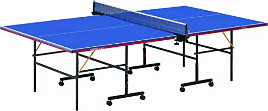 طاولة تنس داخلية قابلة للطي مع عمود وشبكة 12606 من مارشال فتنس، ازرق