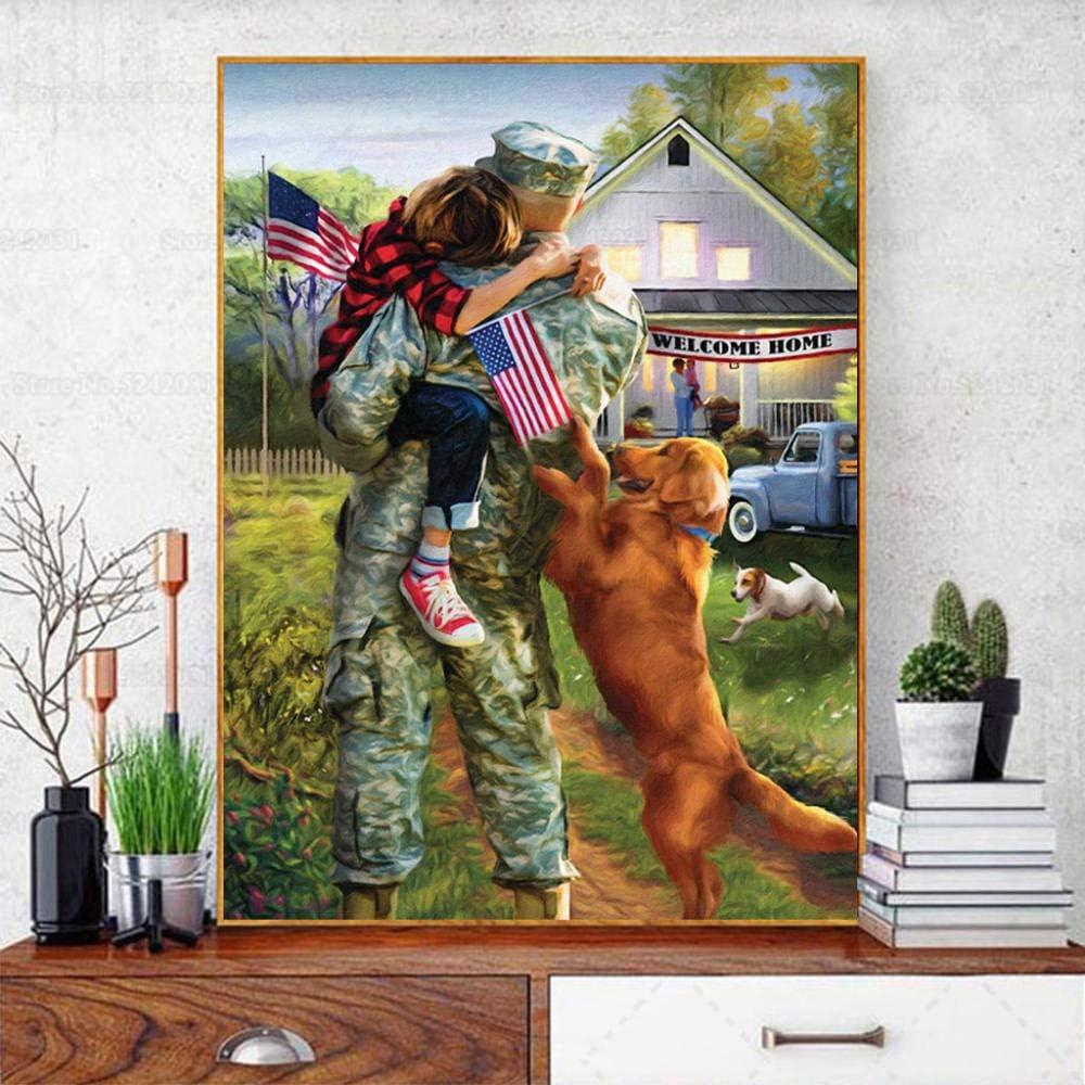 DIY de madera Puzzles grandes adultos 1000 piezas Soldado americano Familia de soldados contra la guerra Imagen de la decoración de la habitación Regalos de Navidad