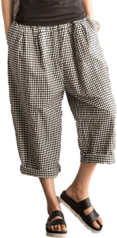 FantasyLinen Women's Casual Linen Wide Leg Pants Trousers with Elastic Waist
