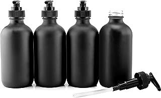 Cornucopia Brands Black Coated 8-Ounce Glass Pump Bottles (4-Pack), Black Plastic Pump Nozzles Included; Great for Lotions, Liquid Soap Dispenser & Hand Sanitizer