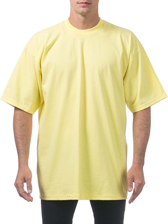 Pro Club Men's Heavyweight Cotton Short Sleeve Crew Neck T-Shirt, 5XL - Tall, Yellow