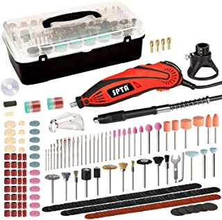 SPTA RT388AC Advanced Multi-functional Rotary Tool Kit with 388 Accessories and 4 Attachments Variable Speed for Around the House and Crafting Projects