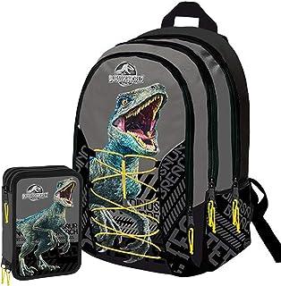 Jurassic World Schoolpack - Mochila escolar organizada con 3 cremalleras y estuche con 3 cremalleras: Amazon.es: Oficina y papelería