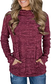 Unidear Womens Casual Long Sleeve Cozy High Neck Solid Sweatshirt with Pocket