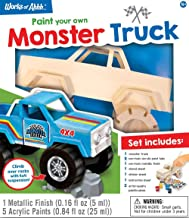 MasterPieces Works of Ahhh Real Wood Large Acrylic Paint & Craft Kit, Monster Truck, For Ages 4+