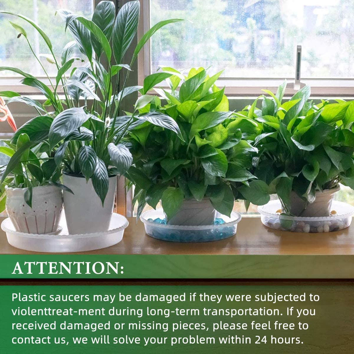 HomeMall 5 PCS Clear Plant Saucer Durable Plastic Plant Tray for Flower Pots Sturdy Drip Trays for Indoor and Outdoor Plants 8 inch