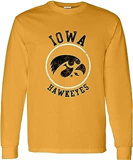 NCAA Distressed Circle Logo, Team Color Long Sleeve, College, University