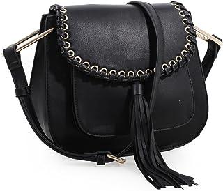 Heather Tassel Saddle Handbag (Black)
