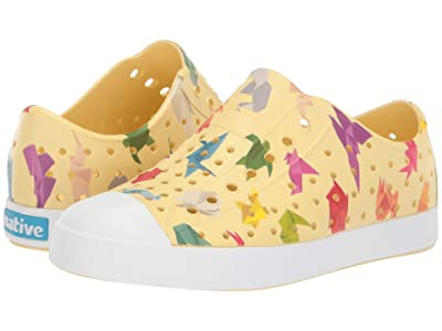 Native Kids Shoes Jefferson Print (Little Kid) (Gone Bananas Yellow/Shell White/Origami) Kids Shoes