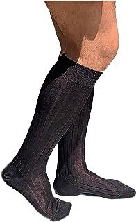 Lucchetti Socks Milano 6 PAIA calze da uomo lunghe filo di scozia 100% cotone rimagliate Made in Italy